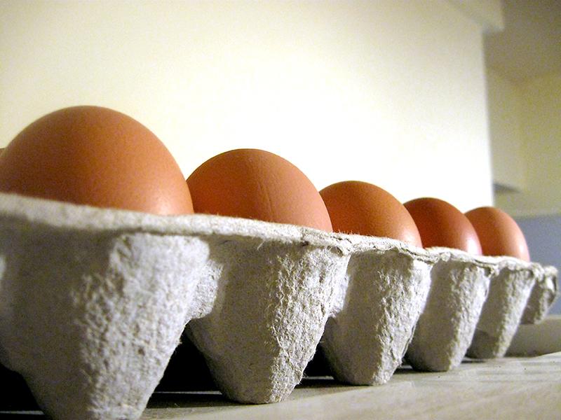 Eggs in an egg carton